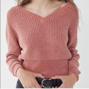 Urban Outfitters Pink V-Neck Chenille Seeater